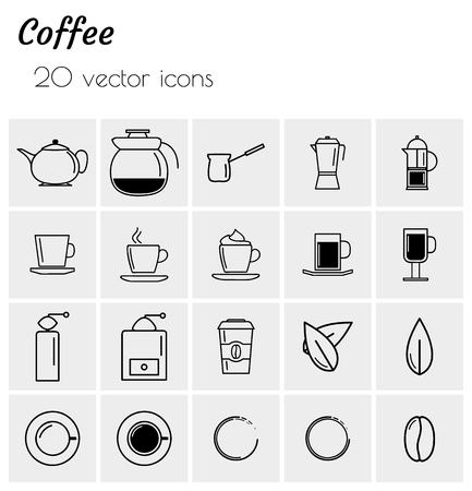 Coffee - collection of icons. Simple linear icons.