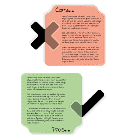 Cons and pros template frames. Red box with cross mark and green with tick mark. Illustration