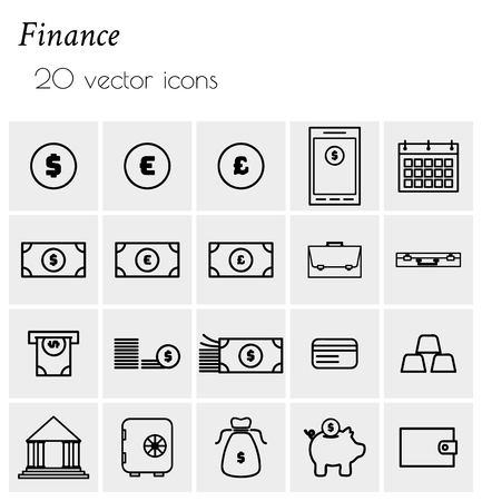 Finance - collection of icons. Simple linear icons. 版權商用圖片 - 123636583