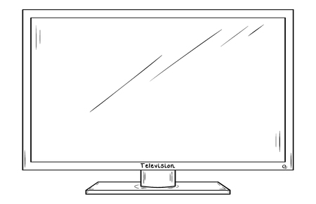LCD television or computer monitor. Sketch, isolated on white background.