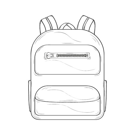 Backpack. Sketch of the backpack for pupil or tourist.