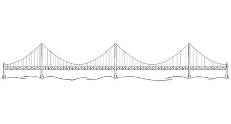 Metal bridge over river. Sketch of the bridge similar to Golden Gate in San Francisco.