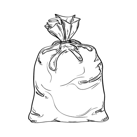 Tied old sack. Sketch of the sack full of something.