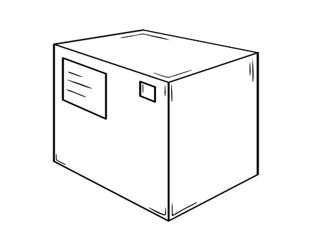 Small closed box. Sketch of the paper or cardboard package with address ticket and post mark.