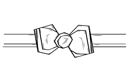 Fashion bow ribbon. Sketch of the bow ribbon. Isolated. 向量圖像