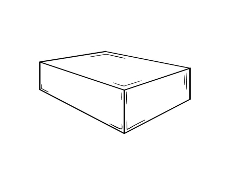 Small closed box. Sketch of the paper or cardboard package. Illustration