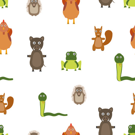 Animals seamless pattern. Repeating background with animals. Flat style.
