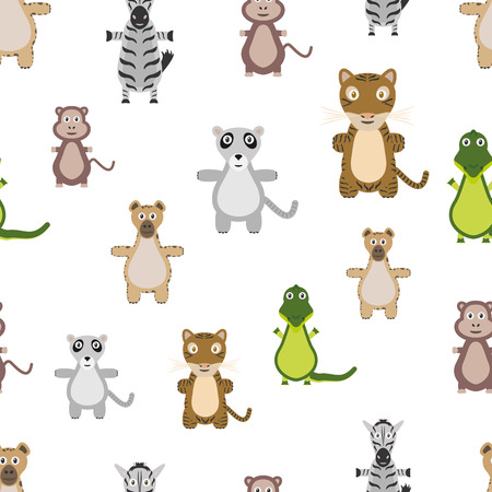 Animals seamless pattern. Repeating background with animals. Flat style. 版權商用圖片 - 123636609