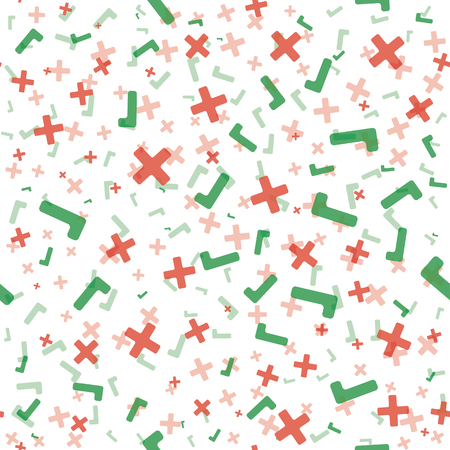 Red tick and green cross symbols on white background. Seamless pattern.