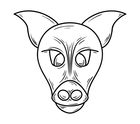 Head of pig animal. Sketch, isolated on white background. 版權商用圖片 - 123636617