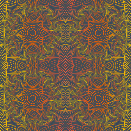 Ornamental seamless pattern with 3D illusion. Repeating background with abstract elements and 3D layer illusion.