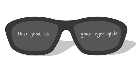 Dark glasses with text: How good is your eyesight?