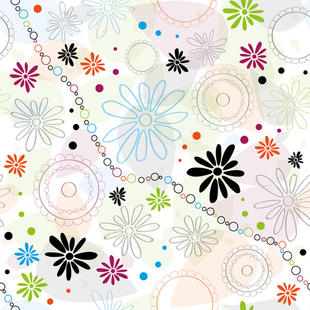 Abstract pattern with color flowers and elements. Colorful floral seamless pattern.