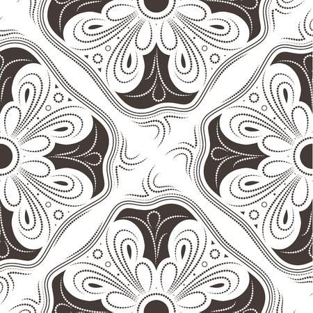Ornamental seamless pattern - brown pseudo squares with linear ornaments. Ilustração