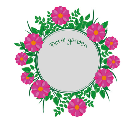 Round label decorated around by green leaves and purple flowers.