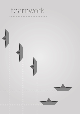 Teamwork concept illustration with a folded paper boat.
