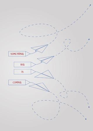 Something big is coming concept illustration with a folded paper boat. Ilustração