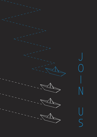 Join us advertising concept illustration with a folded paper boat.