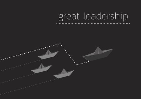 Great leadership concept illustration with folded paper boat. Ilustração