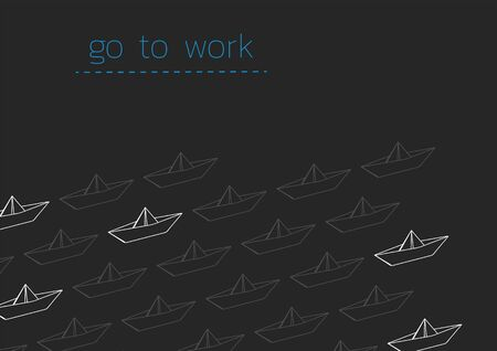 Go to work concept illustration with a folded paper boat.