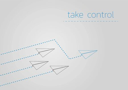 Take control. Business concept illustration with a folded paper plane.