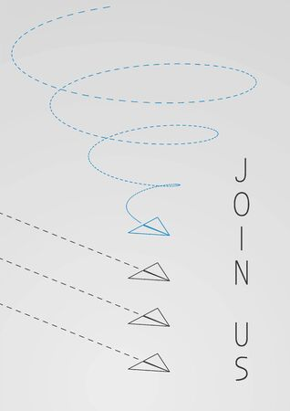 Join us. Business concept illustration with a folded paper plane.