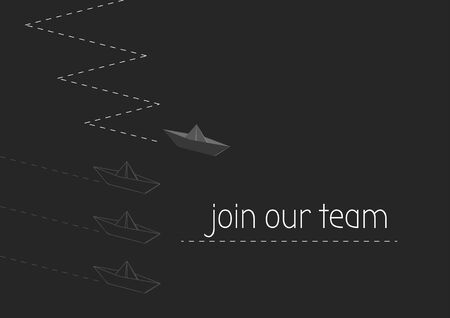 Join our team concept illustration with folded paper boat.