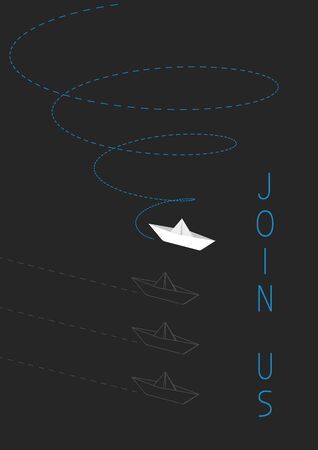 Join us advertising concept  with a folded paper boat.