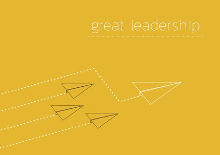Great leadership. Business concept illustration with a folded paper plane.