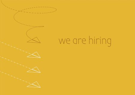 We are hiring. Business concept illustration with a folded paper plane.