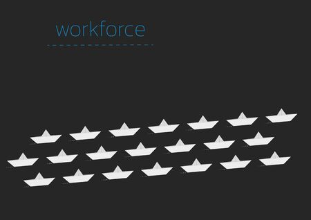 Workforce concept illustration with a folded paper boat.