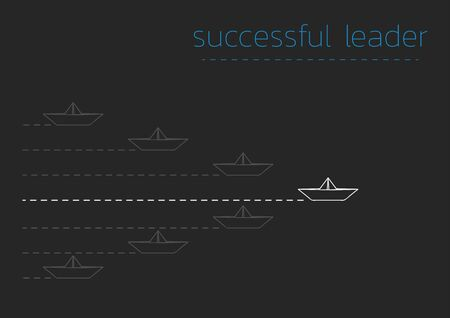 Successful leader concept illustration with a folded paper steamboat.