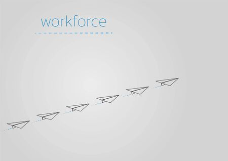 Workforce. Business concept  with a folded paper plane.