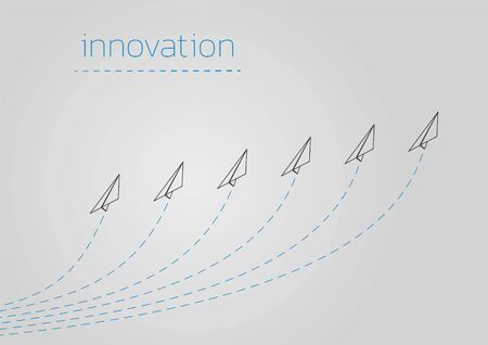 Innovation. Business concept illustration with a folded paper plane.