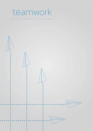 Teamwork. Business concept  with a folded paper plane. Ilustração