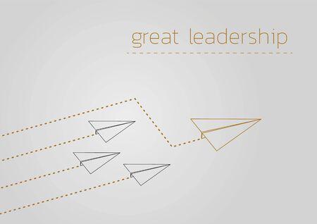 Great leadership. Business concept  with a folded paper plane. Ilustração