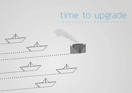 Time to upgrade concept illustration with a folded paper boat and paper steamboat.