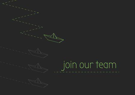 Únase a nuestro concepto de equipo con el barco de papel plegado. Ilustración de vector