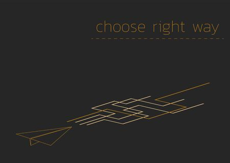 Choose right way. Business concept illustration with a folded paper plane.
