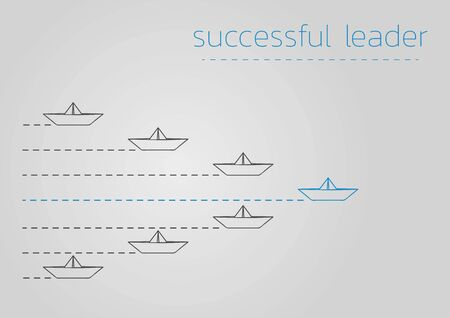Successful leader concept  with a folded paper steamboat. Ilustração