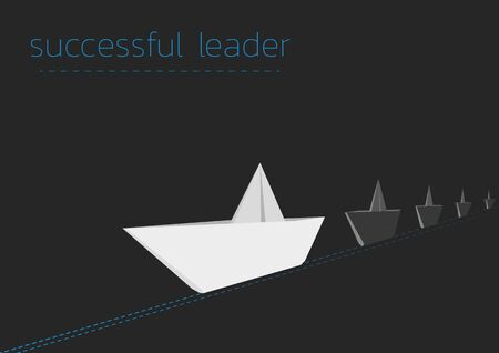 Successful leader concept  with a folded paper steamboat. Illustration