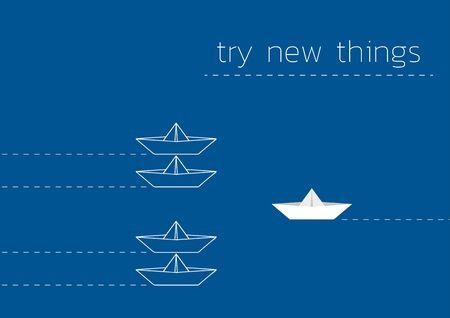 Essayez l'illustration du concept de nouvelles choses avec un bateau en papier plié. Vecteurs