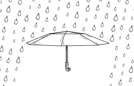 Open umbrella used as a rain protection and rain drops.