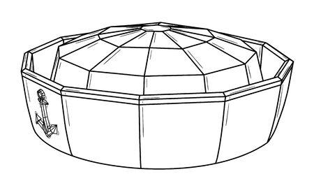 Marine cap with anchor symbol.  Black outline illustration on white background. Sketch. Ilustração