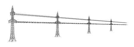 Lignes électriques à haute tension. Pylônes haute tension connectés avec des fils. Illustration de contour noir sur fond blanc. Esquisser.