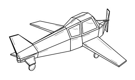 Small plane with two wings and one propeller - monoplane.  Black outline illustration on white background. Sketch.