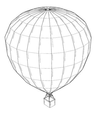 Hot air balloon.  Black outline illustration on white background. Sketch.