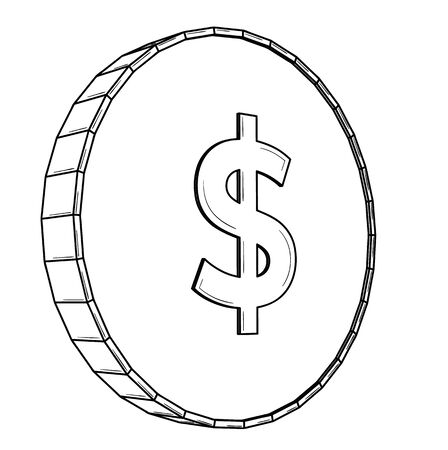 American dollar coin - USD. Black outline  on white
