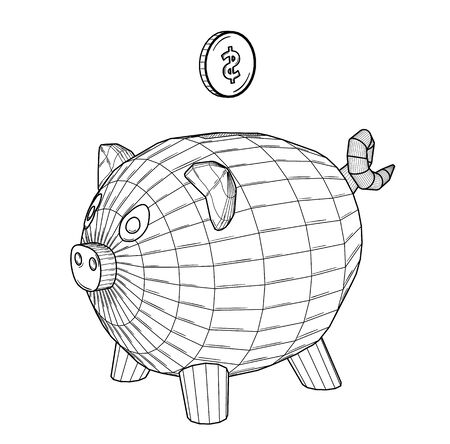 Pig as a money box with american dollar coin - USD. Black outline illustration on white background. Sketch.