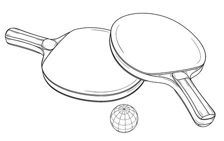 Two table tennis rackets and ball.
